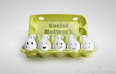 Group of eggs with smiling faces representin