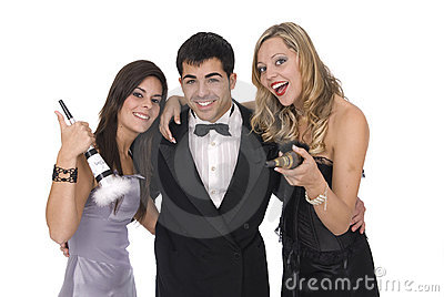 Group of elegants friends at a new year party