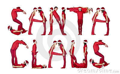 Group of elfs forming the phrase  SANTA CLAUS