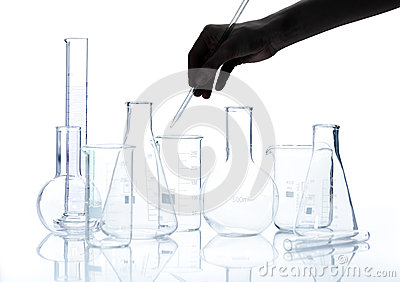 Group of empty chemical laboratory flacks