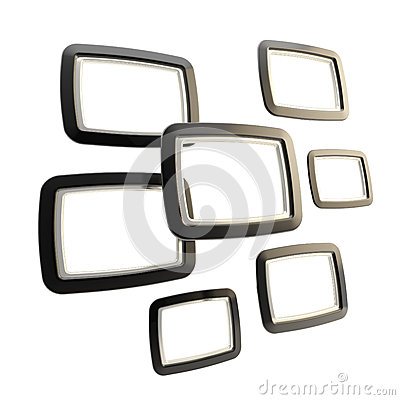 Group of empty copyspace frames isolated