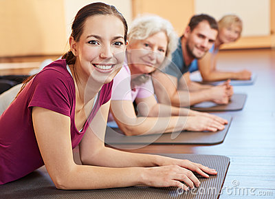 Group exercising in gym