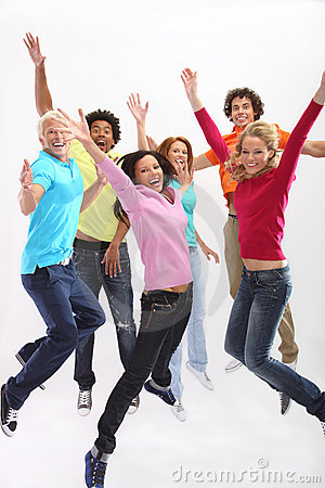 Group of exited young people jumping