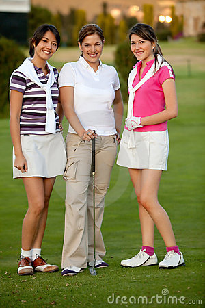 Group of female golf players