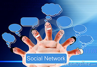 Group of finger faces as social network