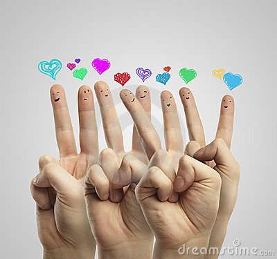 Group of finger with love heart speech bubbles