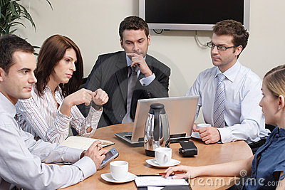 Group of  five business people