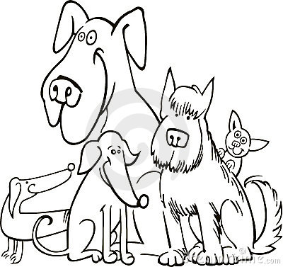 Group of five dogs for coloring