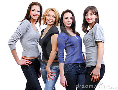 Group of four happy smiling women