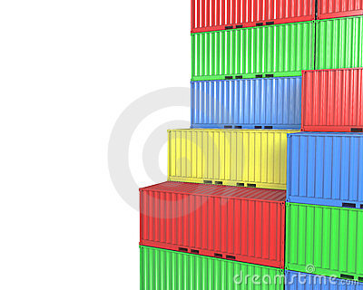 Group of freight containers, with blanks space