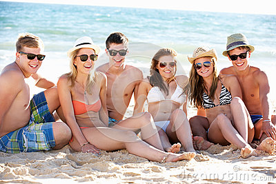 Group Of Friends On Beach Holiday