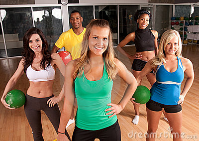 A group of friends exercising