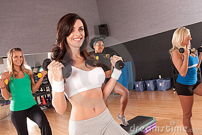 Group of friends in a fitness class