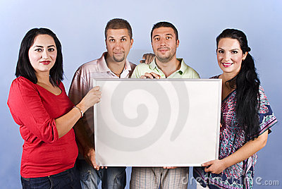 Group of friends hold a blank banner