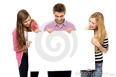Group of friends holding blank paper