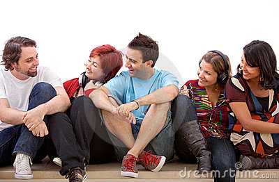 Group of friends isolated