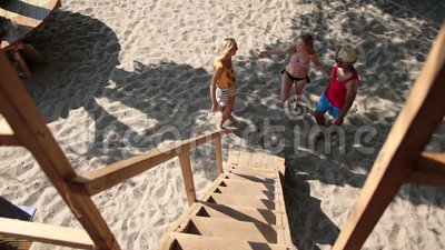 Group of friends meeting on the beach stock footage