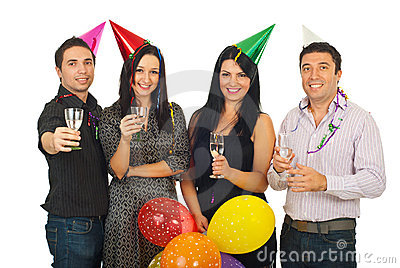 Group of friends at New Year s Eve party