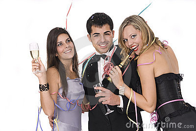 Group of friends at a new years party