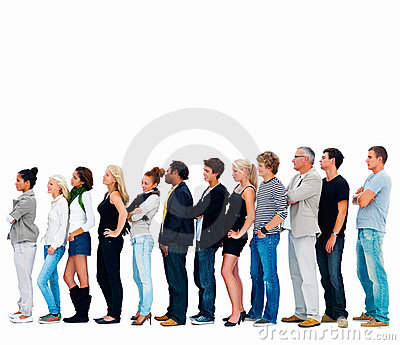 Group of friends standing in a row , copyspace