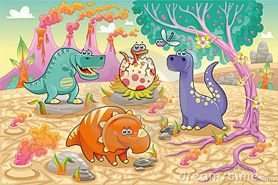 Group of funny dinosaurs in a prehistoric landscap