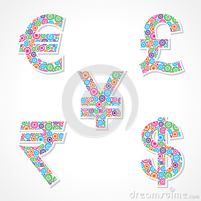 Group of gear make currency symbols