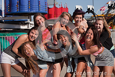 Group of Giggling Teenage Girls