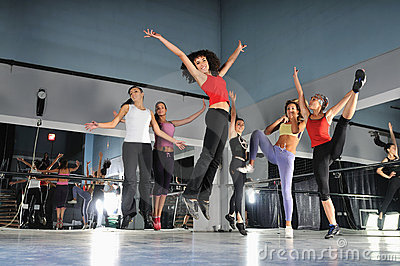 Group of girls jumping in air