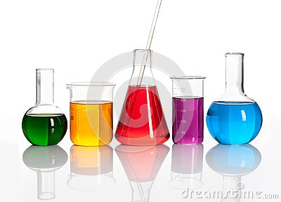 Group of glass flasks with a colored liqiuds