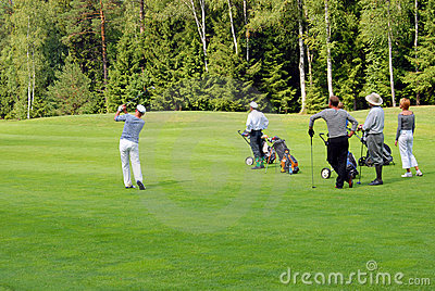 Group of Golfers at Moscow s Country Club Editorial Photo