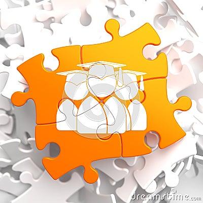 Group Of Graduates Icon On Orange Puzzle. Stock ...