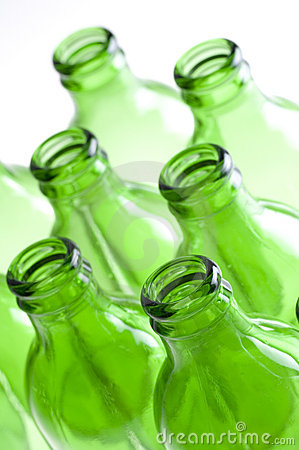 A group of Green beer bottles