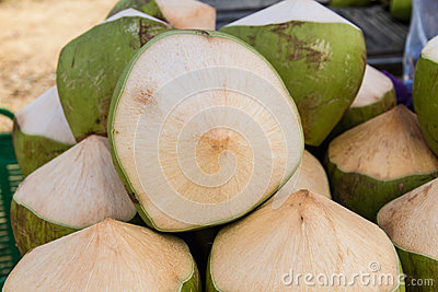 Group of green coconuts