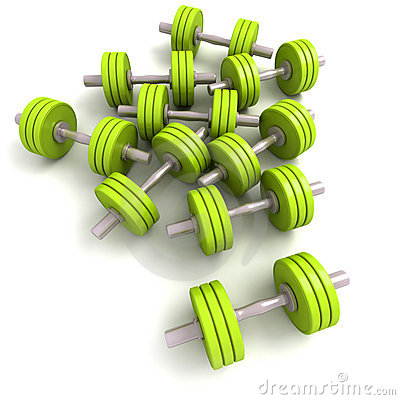 Group of green dumbbells