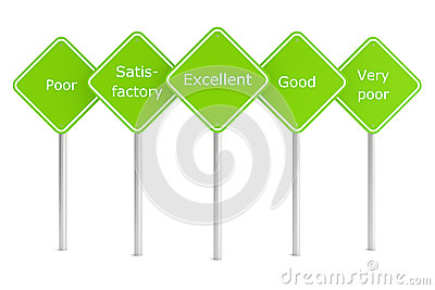 Group of green rectangle road signes with text marks