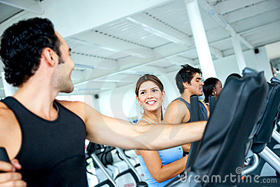 Group at a gym - cardio