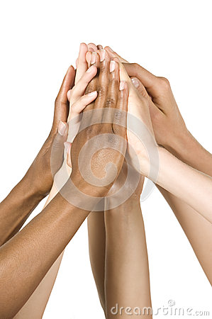 Group of Hands Coming Together. Isolated on White.