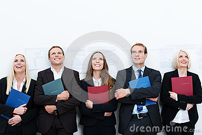 Group of happy applicants for a job