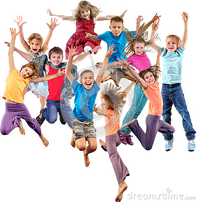 Group Of Happy Cheerful Sportive Children Jumping And