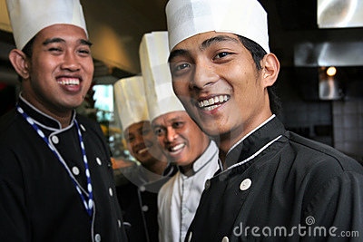 Group of happy chef