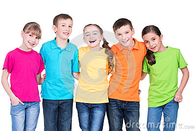 Group of happy children in colorful t-shirts.