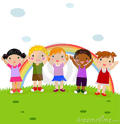 Group of happy children in the park with rainbow