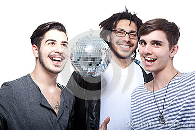 Group Of Happy Friends With Disco Ball