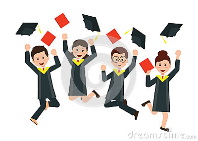 Group of happy graduates throwing graduation hats in the air cel Vector Illustration