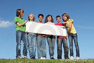 Group of happy  kids,blank sign