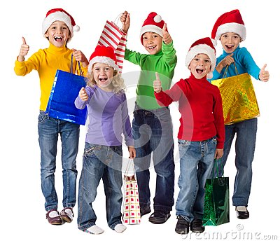 Group of happy kids with christmas gifts