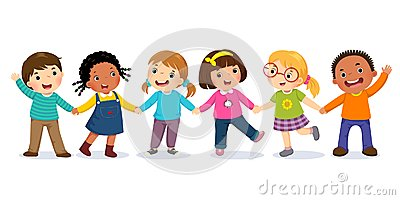 Group of happy kids holding hands. Friendship concept Vector Illustration