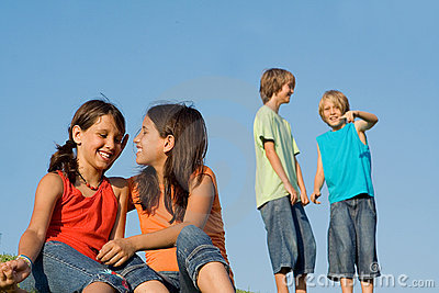 Group of happy kids talking