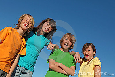 Group of happy smiling kids or tweens