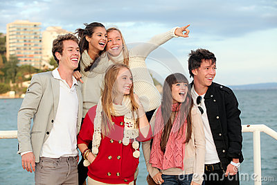 Group happy surprised teens